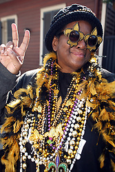 07 February 2010. New Orleans, Louisiana, USA. <br /> Super Bowl XL1V. <br /> Jocelyn (Joz) Burrell. New Orleans Saints fans gather in the French Quarter in anticipation of the big game in Miami later in the day as the home team goes head to head with the Indianapolis Colts for Super Bowl 44. <br /> Photo ©; Charlie Varley/varleypix.com