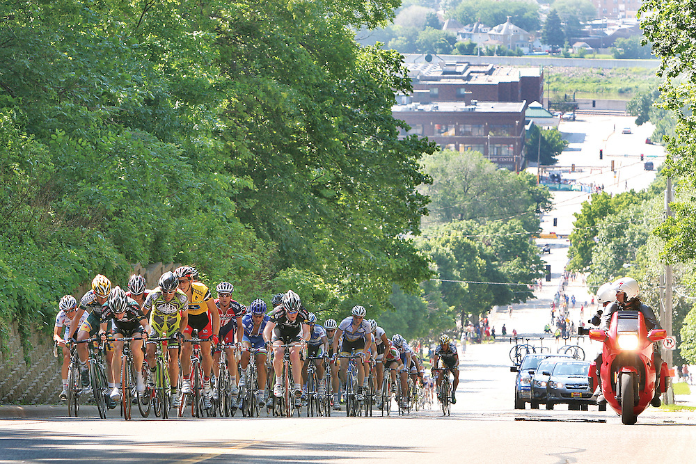 The Men's division of the Nature Valley Grand Prix work their way up the 12 percent grade hill on E Main Street of Mankato during the city circuit portion of the race.