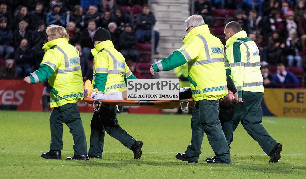 Dundee United's Callum Morris is taken off on a stretcher......(c) MARK INGRAM | SportPix.org.uk