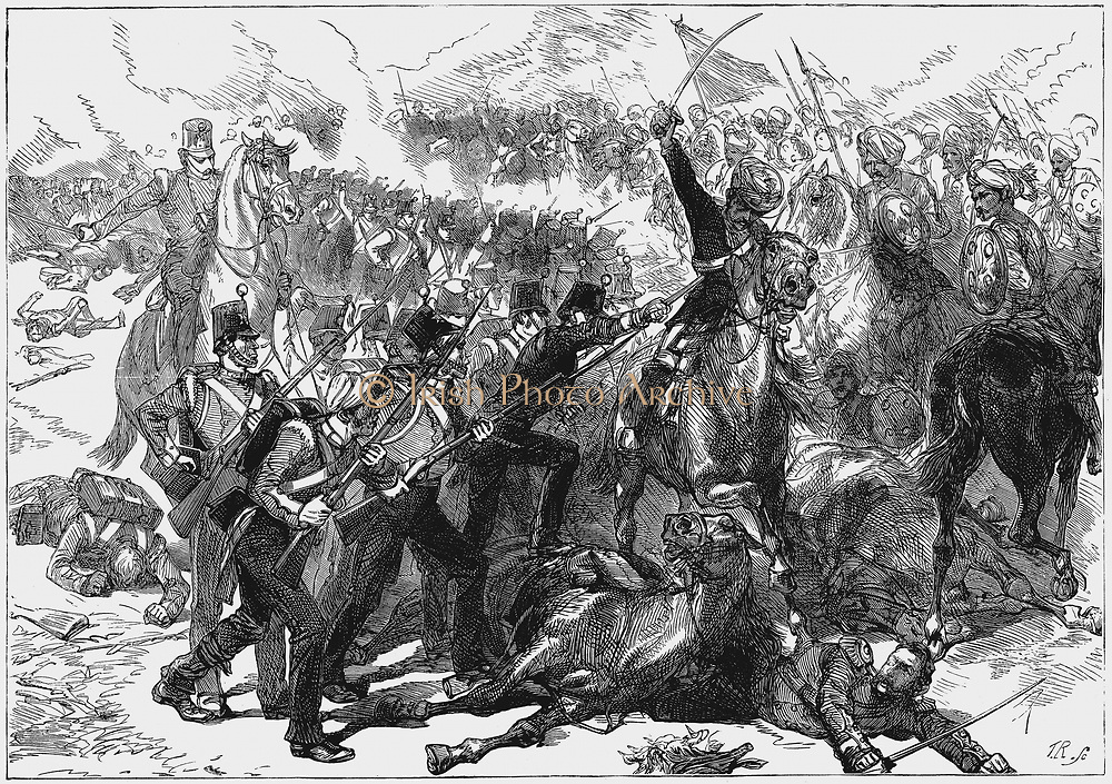 First Anglo-Afghan War 1838-1842: British troops from the besieged city of Jellalabad, under the leadership of Henry Havelock, attacking the camp of Akbar Khan, routing the Afghans and capturing supplies of every kind, 7 April 1842. Wood engraving c.1880