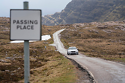 Passing place on Applecross peninsula at Bealach na ba on the North Coast 500 tourist motoring route in northern Scotland, UK