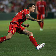 Daniel Agger, Liverpool, in action during the Liverpool Vs AS Roma friendly pre season football match at Fenway Park, Boston. USA. 23rd July 2014. Photo Tim Clayton