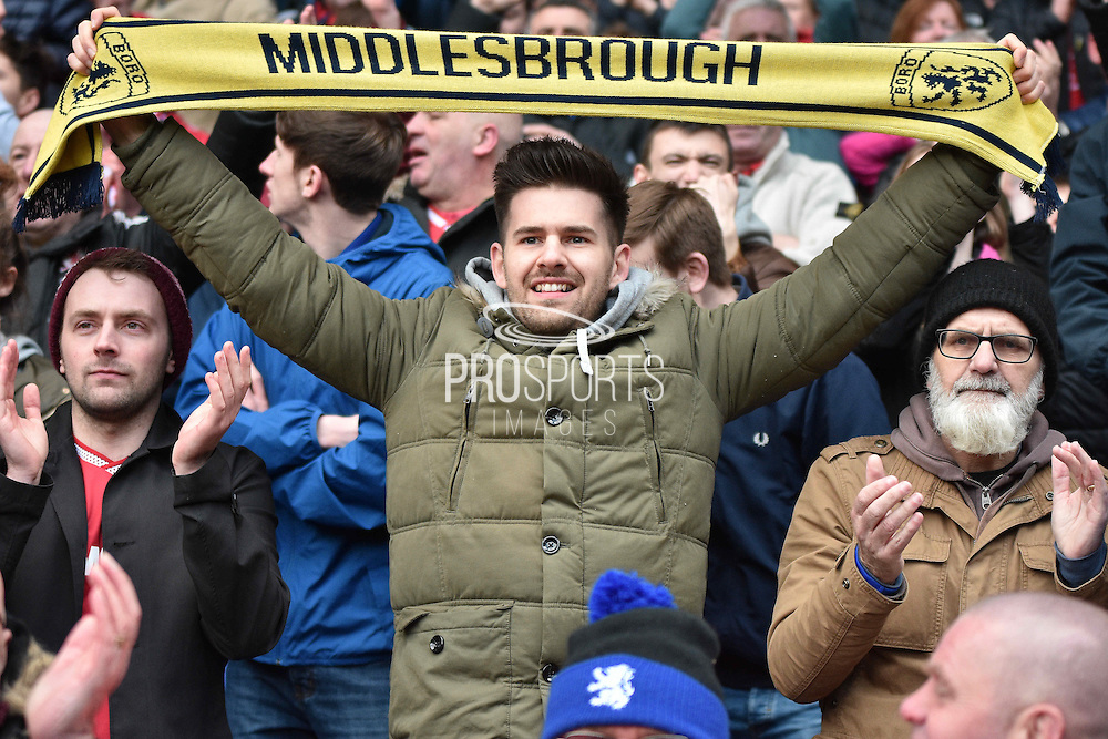 a Middlesbrough fan  after the Sky Bet Championship match between Bolton Wanderers and Middlesbrough at the Macron Stadium, Bolton, England on 16 April 2016. Photo by Mark Pollitt.