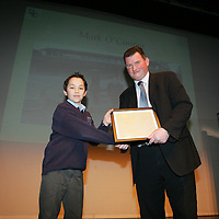 Mark O'Connor being presenteded with his Young Citizen Award for enviroment work in his School by Cllr Pat Hayes, Cathoirleach of Clare County Development Board in Glor<br /> Pic.Brian Gavin/Press 22