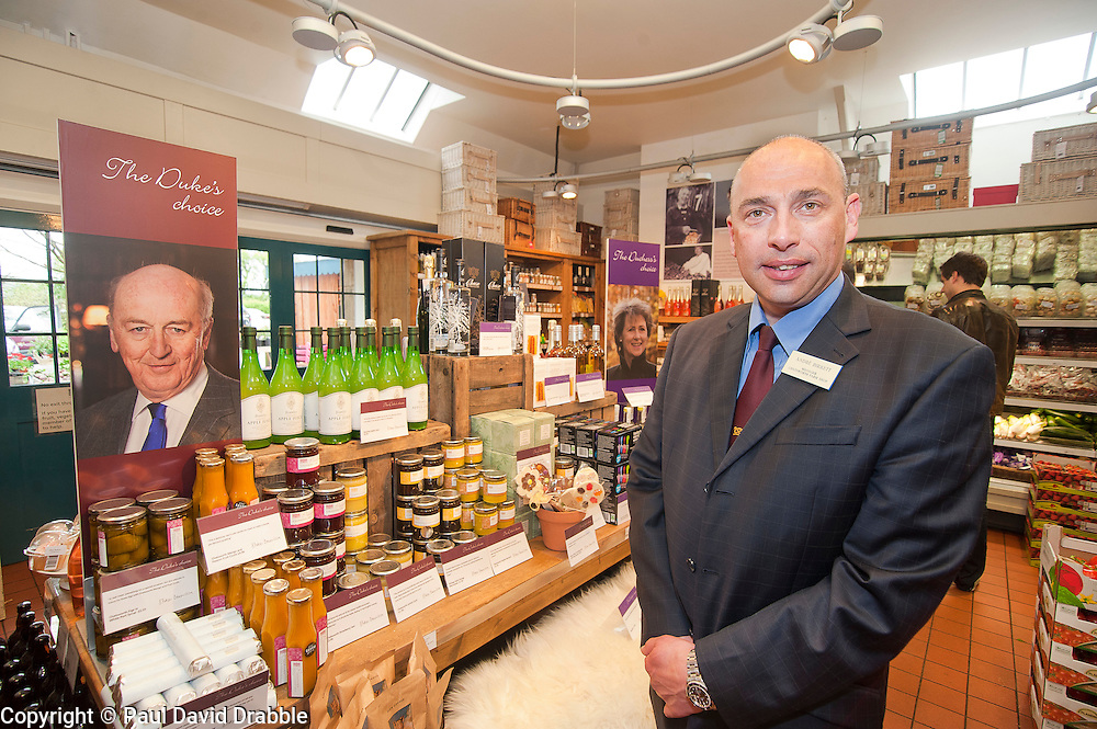 "Andre Birckett Manager of Chatsworth Farm Shop with ""The Duke and Duchess's Choice"" display.10  May 2012.Image © Paul David Drabble"