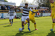 Forest Green Rovers Kaiyne Woolery(14) shields the ball from Southport's Neil Ashton(3) during the Vanarama National League match between Southport and Forest Green Rovers at the Merseyrail Community Stadium, Southport, United Kingdom on 17 April 2017. Photo by Shane Healey.