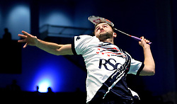 Ben Lane of Bristol Jets plays a smash shot - Photo mandatory by-line: Robbie Stephenson/JMP - 07/11/2016 - BADMINTON - University of Derby - Derby, England - Team Derby v Bristol Jets - AJ Bell National Badminton League