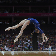 Victoria Komova, Russia, in action on the Balance Beam during the Women's Individual All-Around competition in which she won the Silver Medal at North Greenwich Arena, during the London 2012 Olympic games. London, UK. 2nd August 2012. Photo Tim Clayton