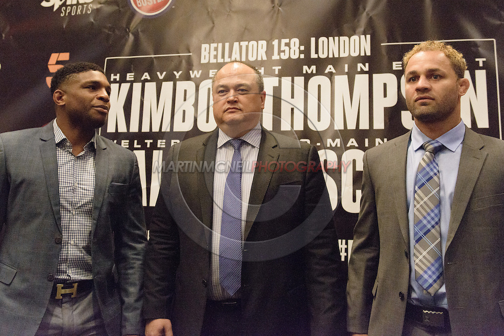 "LONDON, ENGLAND, APRIL 18, 2016: (L to R) Paul Daley, Scott Coker and Josh Koscheck are pictured during the event announcement press conference for ""Bellator 158: Slice vs. Thompson"" inside the Four Seasons Hotel in Park Lane, London (© Martin McNeil)"