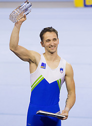 Winner Saso Bertoncelj of Slovenia celebrates at trophy ceremony after competing in the  Pommel Horse during Final day 1 of Artistic Gymnastics World Cup Ljubljana, on April 27, 2013, in Hala Tivoli, Ljubljana, Slovenia. (Photo By Vid Ponikvar / Sportida.com)