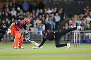 Leicestershire Foxes Callum Parkinson dives for the ball  during the Vitality T20 Blast North Group match between Lancashire Lightning and Leicestershire Foxes at the Emirates, Old Trafford, Manchester, United Kingdom on 30 August 2019.