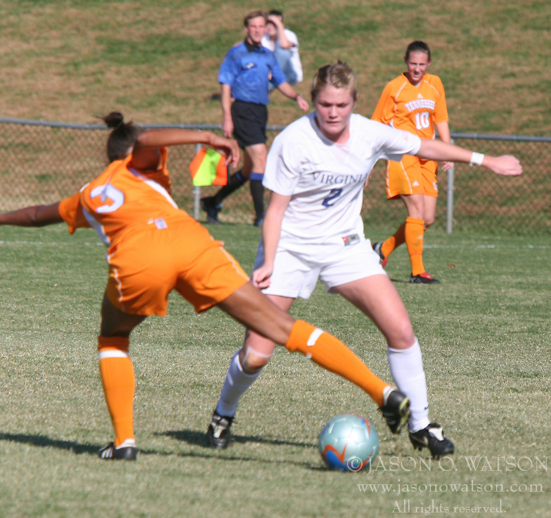 Forward Jen Redmond (2) moves in to take the ball against Tennessee.  UVA beat UT 3-0.