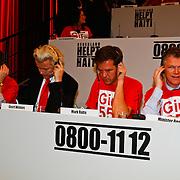 NLD/Hilversum/20100121 - Benefietactie voor het door een aardbeving getroffen Haiti, Andre Rouvoet, Geert Wilders, Mark Rutte en Wouter Bos