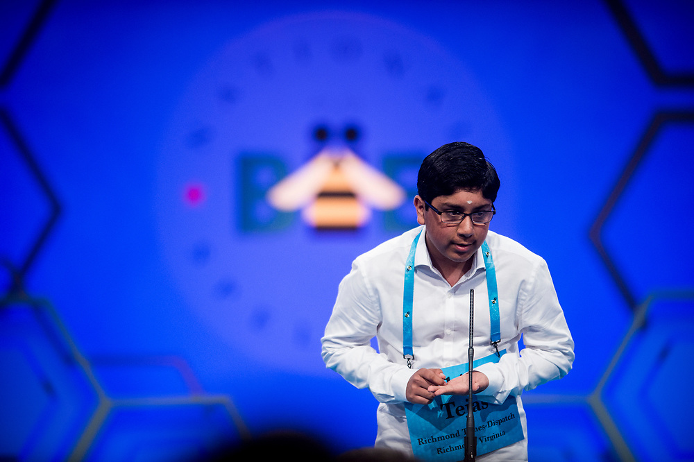 Tejas Muthusamy, 14, from Glen Allen, Va., participates in the finals of the 2017 Scripps National Spelling Bee on Thursday, June 1, 2017 at the Gaylord National Resort and Convention Center at National Harbor in Oxon Hill, Md.      Photo by Pete Marovich/UPI
