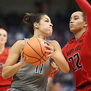 HARTFORD, CONNECTICUT- NOVEMBER 19:  Kia Nurse #11 of the Connecticut Huskies drives to the basket defended by Blair Watson #22 of the Maryland Terrapins during the the UConn Huskies Vs Maryland Terrapins, NCAA Women's Basketball game at the XL Center, Hartford, Connecticut. November 19th, 2017 (Photo by Tim Clayton/Corbis via Getty Images)