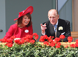 Carole Middleton and Duke of Edinburgh in the Royal Box during  Ladies Day at  Royal Ascot, Thursday 21st  June 2012.  Photo by: Stephen Lock / i-Images