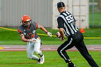 KELOWNA, BC - OCTOBER 6: Kelton Kouri #38 of Okanagan Sun runs for the ball against the VI Riaders at the Apple Bowl on October 6, 2019 in Kelowna, Canada. (Photo by Marissa Baecker/Shoot the Breeze)