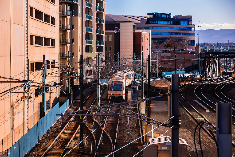 RTD Light Rail train, LoDo (Lower Downtown) Denver, Colorado USA.