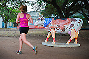 Western Cow, a piece in CowParade by Nichelle Notabartolo, Austin, Texas, July 29, 2010.  CowParade is considered to be the largest and most recognized public art event in the world. Starting July 2011, about 100 cows painted by local artists went on display throughout Austin.