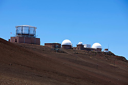 Haleakala Observatory / Haleakala High Altitude Observatory Site viewed from Haleakala National Park, Maui, Hawaii, United States of America