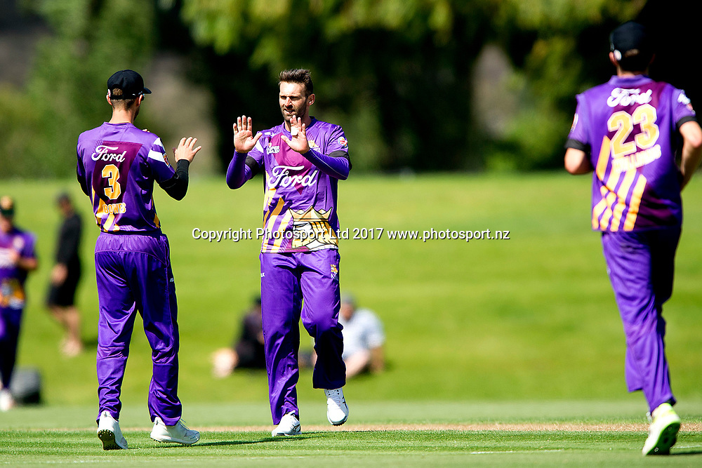 Andrew Ellis of the Kings celebrates after taking a wicket during the Burger King Super Smash Twenty20 cricket match Canterbury Kings v Otago Volts played at Molyneux Park, Alexandra, New Zealand on Tuesday 26 December 2017. Copyright Image: Joe Allison / www.photosport.nz