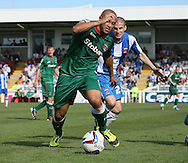 Picture by Paul  Gaythorpe/Focus Images Ltd +447771 871632.08/09/2012.Danny Cademarteri of Carlisle United and Paul Murray of Hartlepool United during the npower League 1 match at Victoria Park, Hartlepool.