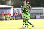 Forest Green Rovers Aaron Collins(10) scores a goal 1-0 and celebrates with Forest Green Rovers Dominic Bernard(3) during the EFL Sky Bet League 2 match between Forest Green Rovers and Mansfield Town at the New Lawn, Forest Green, United Kingdom on 19 October 2019.