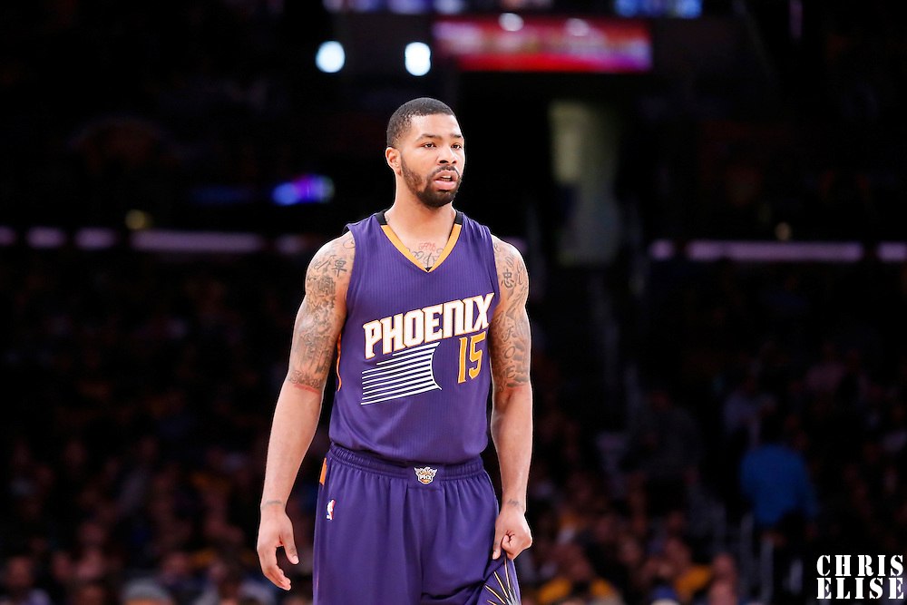04 November 2014: Phoenix Suns forward Marcus Morris (15) rests during the Phoenix Suns 112-106 victory over the Los Angeles Lakers, at the Staples Center, Los Angeles, California, USA.