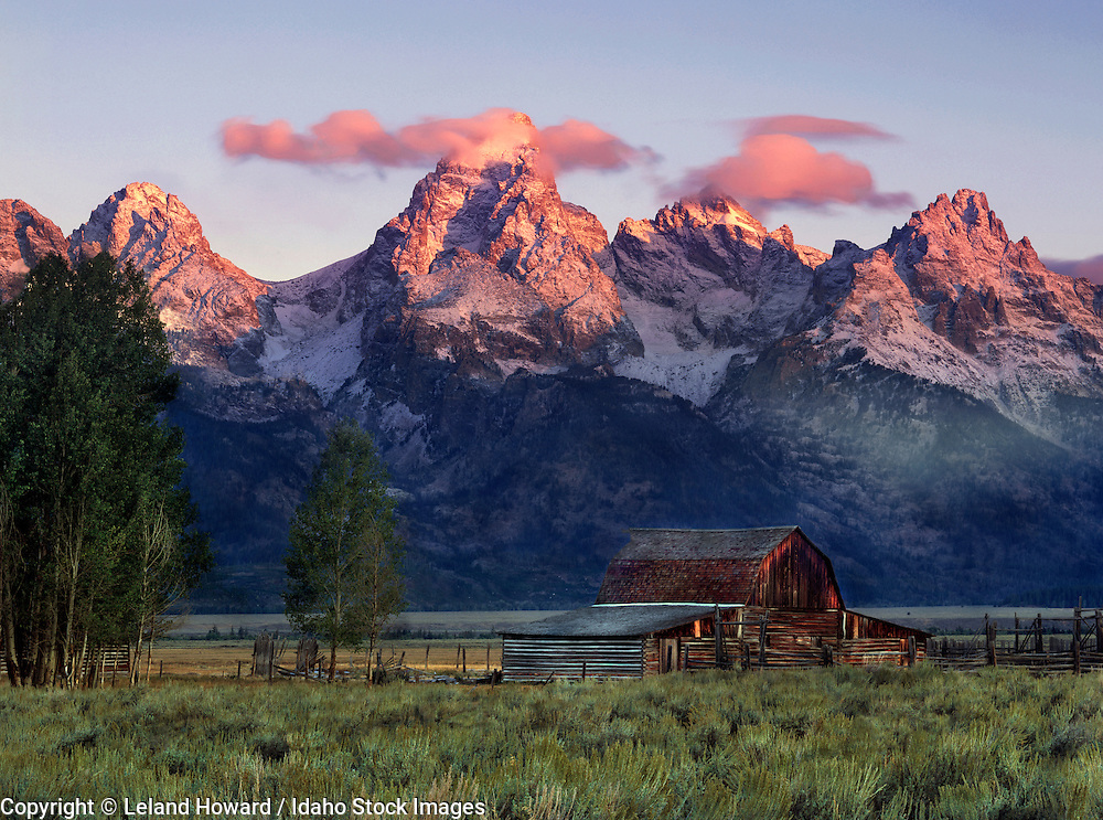 Wyoming, west, Moulton Barn in Teton National Park at sunrise after storm