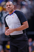 INDIANAPOLIS, IN - MARCH 12: NBA referee Karl Lane #77 is seen during the Indiana Pacers and New York Knicks game at Bankers Life Fieldhouse on March 12, 2019 in Indianapolis, Indiana. NOTE TO USER: User expressly acknowledges and agrees that, by downloading and or using this photograph, User is consenting to the terms and conditions of the Getty Images License Agreement. (Photo by Michael Hickey/Getty Images) *** Local Caption *** Karl Lane