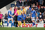 Yellow card for Chesterfield midfielder Robbie Weir (28) during the EFL Sky Bet League 2 match between Chesterfield and Mansfield Town at the Proact stadium, Chesterfield, England on 14 A pril 2018. Picture by Nigel Cole.