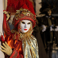 VENICE, ITALY - FEBRUARY 25:  A woman dressed in Carnival Costume poses in Saint Mark's Square on February 25, 2014 in Venice, Italy. The 2014 Carnival of Venice will run from February 15 to March 4 and includes a program of gala dinners, parades, dances, masked balls and music events.  (Photo by Marco Secchi/Getty Images)