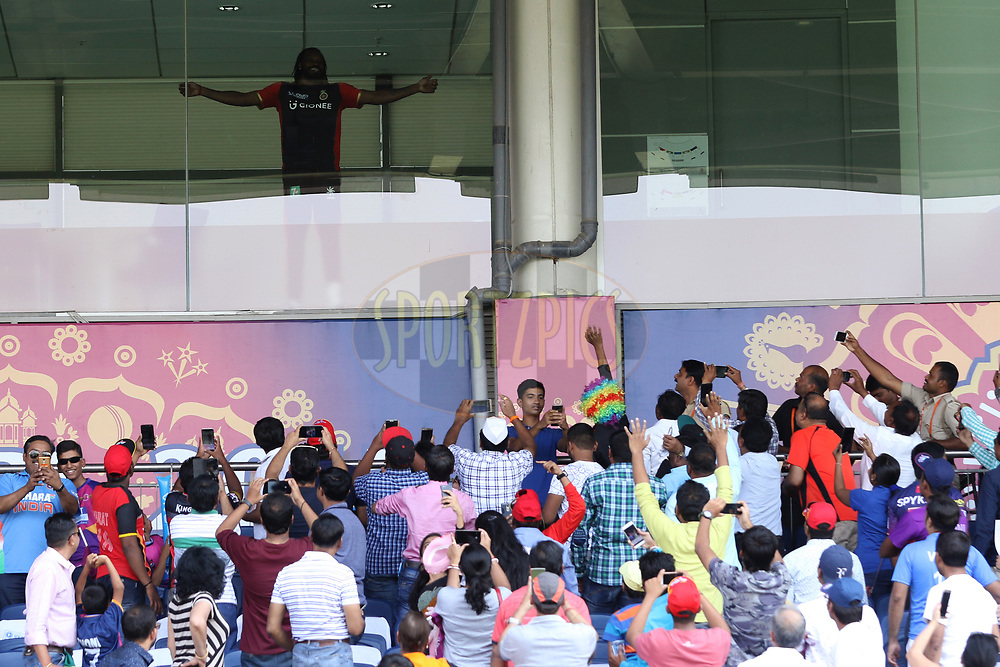Chris Gayle of the Royal Challengers Bangalore wavs to crowd during match 34 of the Vivo 2017 Indian Premier League between the Rising Pune Supergiants and the Royal Challengers Bangalore   held at the MCA Pune International Cricket Stadium in Pune, India on the 29th April 2017<br /> <br /> Photo by Faheem Hussain - Sportzpics - IPL