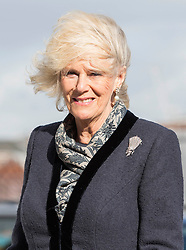 A windswept Camilla arrives at HMS Illustrious during her visit to Portsmouth with Prince Charles, United Kingdom. Wednesday, 26th February 2014. Picture by i-Images