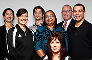 (L_R) Melinda Hodgson, Maree Taylor, Peter Kadar, Saileen Raj, Murry Strong Shaun Iwikau and Melony Wealleans poses for a photo during the BBNZ staff photocall at the BBNZ Wellington offices, Wellington, New Zealand on Thursday 10 May 2012. Photo: Justin Arthur / photosport.co.nz