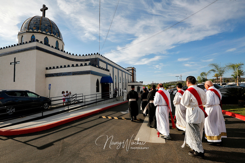 Clergy process into St. Peter Chaldean Catholic Cathedral for a Mass of ordination in El Cajon, Calif., Aug. 14, 2015. (Nancy Wiechec for ONE magazine)