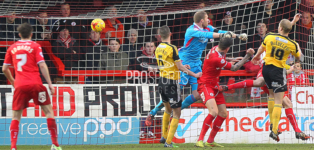 Crawley's Richard Wood scores 1-0 during the Sky Bet League 1 match between Crawley Town and Sheffield Utd at the Checkatrade.com Stadium, Crawley, England on 28 February 2015. Photo by Phil Duncan.