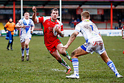 Keighley Cougars second row Josh Lynam (11) in action  during the Betfred League 1 match between Keighley Cougars and Workington Town at Cougar Park, Keighley, United Kingdom on 18 February 2018. Picture by Simon Davies.