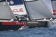 Italy's Luna Rossa Challenge edges up on USA's BMW Oracle Racing team as pair rounds mark in  America's Cup fleet race; Valencia, Spain.
