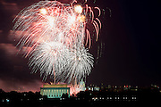 Independence Day fireworks explode over the Lincoln Memorial, the Washington Monument and the U.S. Capitol in Washington, D.C. USA, 04 July 2013. The United States, Independence Day, commonly known as the Fourth of July, is a federal holiday commemorating the adoption of the Declaration of Independence on 04 July 1776, declaring independence from Great Britain.