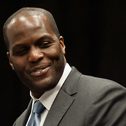 Philadelphia 76ers Color Commentator Malik Rose addresses the media during a news conference to announce the creation of NBA D-League franchise the Delaware 87ers Saturday. April 27, 2013,  at The Bob Carpenter Center in Newark, Del..(AP Photo/Saquan Stimpson).