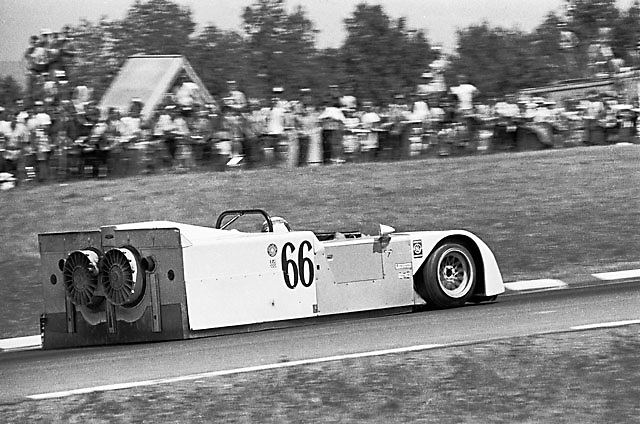 "Watkins Glen Can-Am 1970. Jackie Stewart debuts the Chaparral 2J Ground Effect Vehicle, aka ""the Sweeper,"" with its 2nd motor that drove two fans to extract air from the interior, thus creating downforce independent of the vehicle speed. This climbing section of the circuit used to be known as ""Graham Hill."""