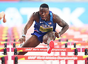 Grant Holloway (USA) wins 110m hurdles heat in 13.22 during the IAAF World Athletics Championships, Monday, Sept. 30, 2010, in Doha, Qatar. (Claus Andersen/Image of Sport)