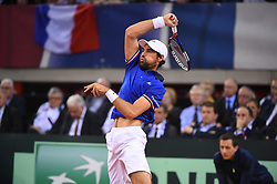 Lucas Pouille (FRA) during match 1 at the quarter final round tie against Great Britain at the Kindarena in Rouen, France on april, 7, 2017. Photo by Corinne Dubreuil/ABACAPRESS.COM