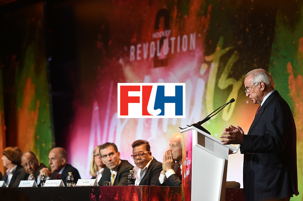 Leandro Negre speaks during the 45th FIH Congress on November 12, 2016 in Dubai, United Arab Emirates.