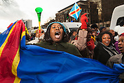 about 1000 supporters of  Tshisekedi having a anti-Kabila protest in the heart of Brussels, ending in chaos and arrests. ©Reporters/sanderdewilde