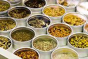 Spices large choice of Olive et Épices at Jean-Talon Market in Little Italy / La Petite Italie, Montréal, Québec, Canada, 2008 08 18. © Photo Marc Gibert / adecom.ca
