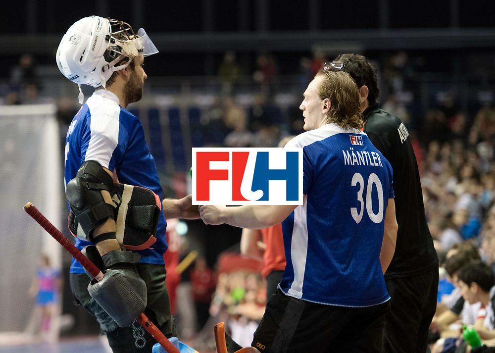 BERLIN - Indoor Hockey World Cup<br /> Quarterfinal 2: Austria - Poland<br /> foto: Mateusz Szymczyk (GK)  and Michael M&auml;ntler (GK)  <br /> WORLDSPORTPICS COPYRIGHT FRANK UIJLENBROEK