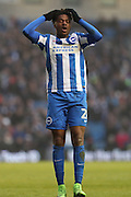 Brighton & Hove Albion striker (on loan from Arsenal) Chuba Akpom (28) looks frustrated, looks dejected after going close during the EFL Sky Bet Championship match between Brighton and Hove Albion and Burton Albion at the American Express Community Stadium, Brighton and Hove, England on 11 February 2017.