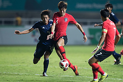 BOGOR, Sept. 1, 2018  Kim Moonhwan (2nd L) of South Korea vies with Hara Teruki (1st L) of Japan during the men's football final between South Korea and Japan at the 18th Asian Games in Bogor, Indonesia on Sept. 1, 2018. (Credit Image: © Wu Zhuang/Xinhua via ZUMA Wire)